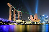 Singapore City, Singapore - September 03, 2015: Laser show at Marina Bay Sands Hotel and Art Science Museum in Singapore at night.
