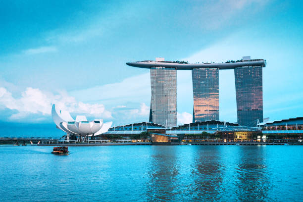 marina bay sands hotel, singapore - marina bay sands stock photos and pictures