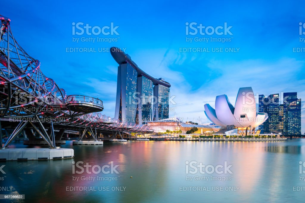 Marina Bay Sands in Singapore at sunset stock photo