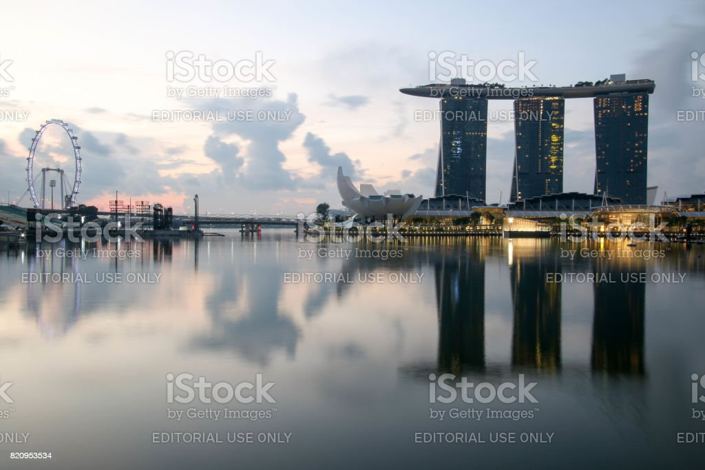SINGAPORE - July 8, 2017 : Marina Bay Sands in the morning. stock photo