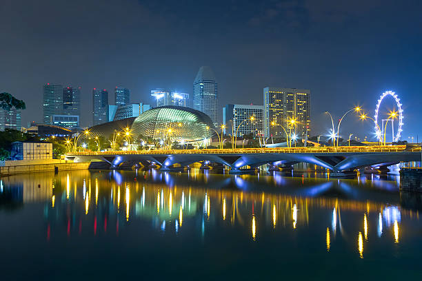 Marina Bay, Singapore city Singapore city in the night esplanade theater stock pictures, royalty-free photos & images