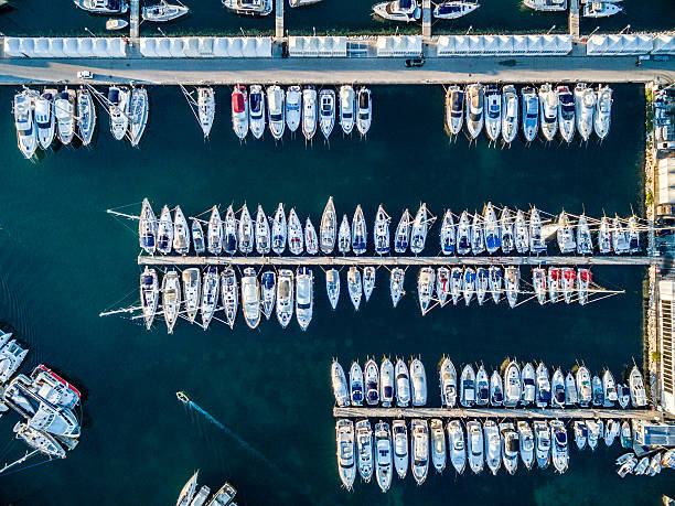Marina bay with sailboats and yachts stock photo