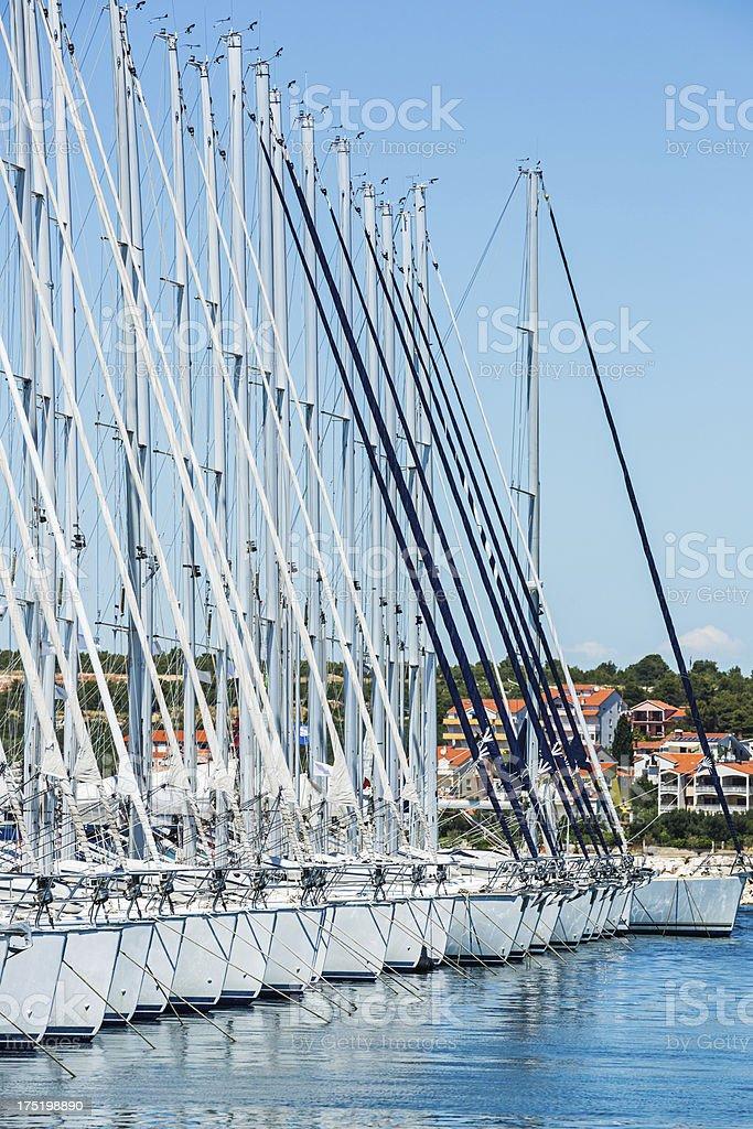 Marina bay with sailboats royalty-free stock photo