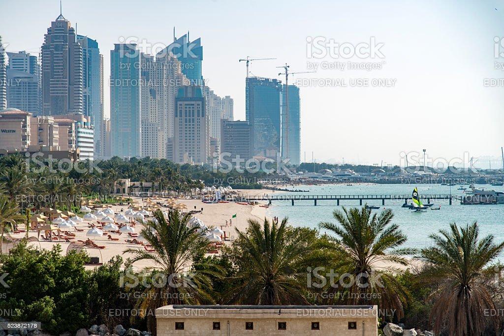 Marina Beach Dubai stock photo