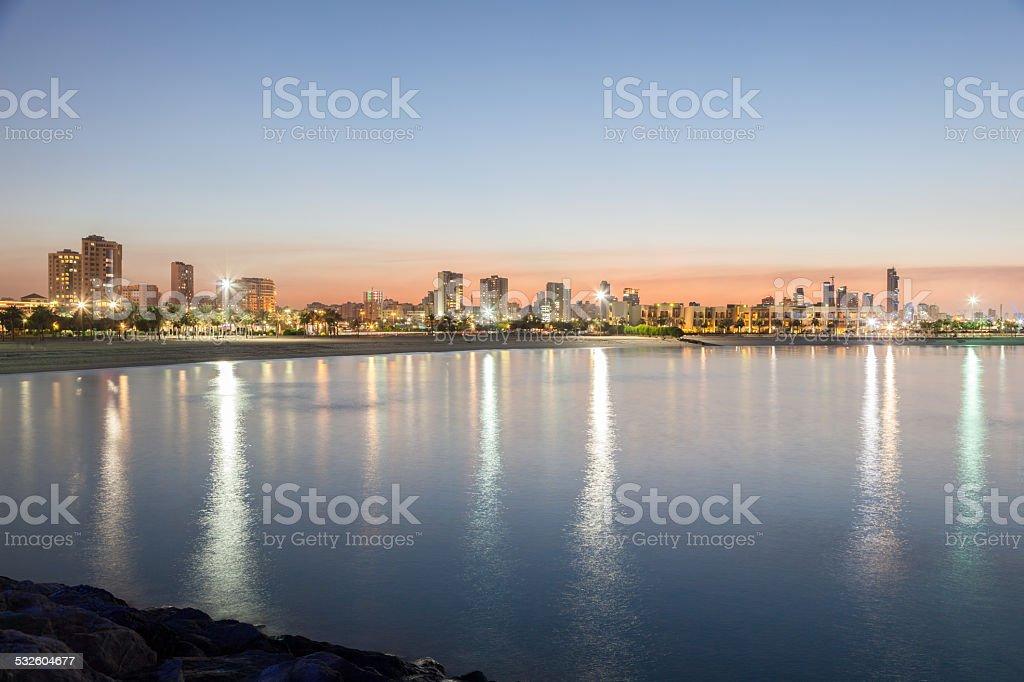Marina Beach in Kuwait stock photo