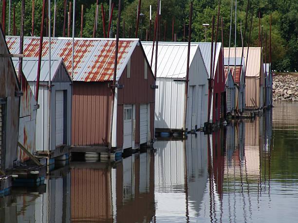 Marina boathouses stock photo