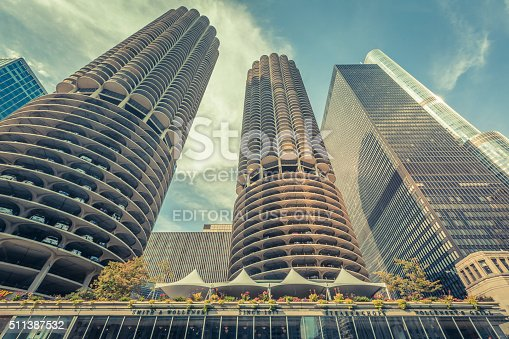 Chicago, United States- August 22, 2015:  Details of the Marina City towers in Chicago - the residential complex was the tallest concrete structure in the world when completed in 1964.
