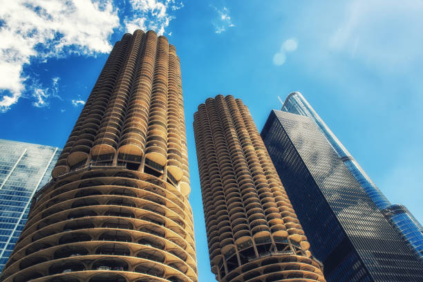Marina City Tower building Marina Towers, Chicago, Illinois, United States of America, North America 1960 1969 stock pictures, royalty-free photos & images