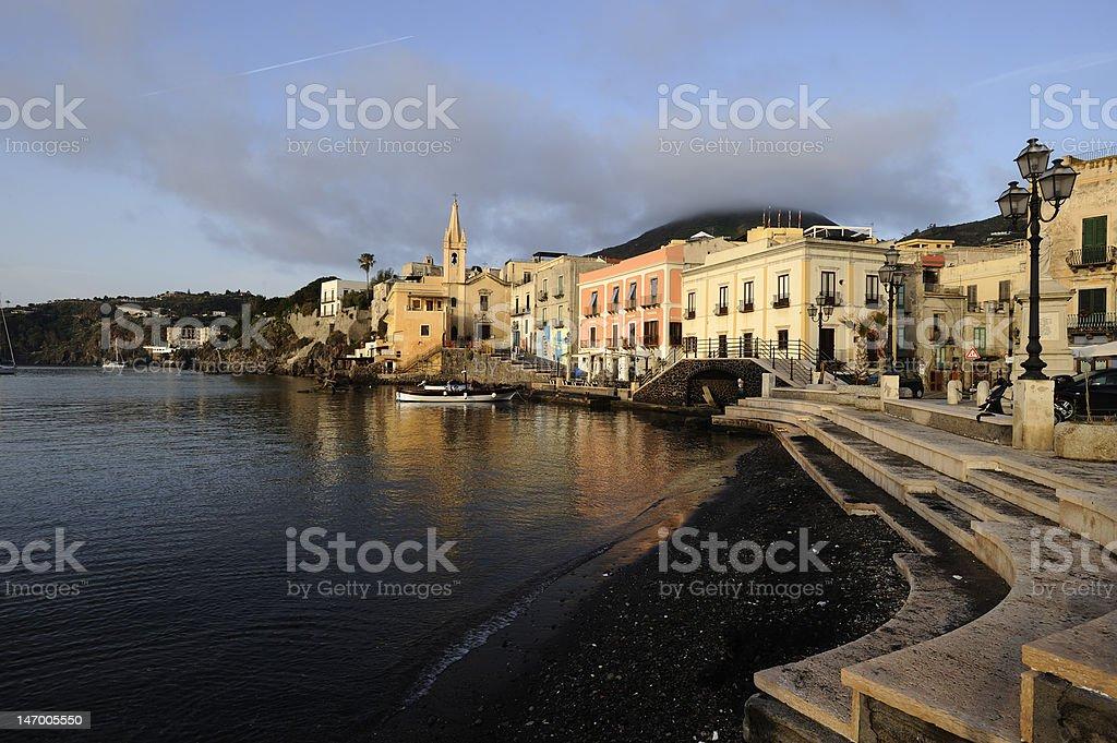 Marina Corta in Lipari Island stock photo
