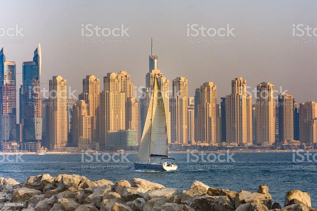 Marina district skyline, Dubai, UAE stock photo