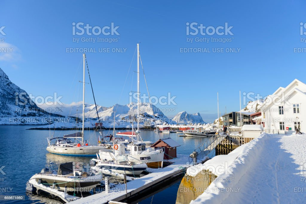 Marina in a bay in Northern Norway on a winter day stock photo
