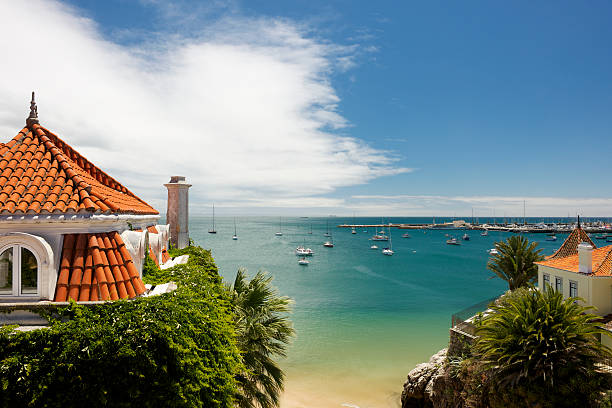 Marina in Cascais in Portugal at midday in summer stock photo