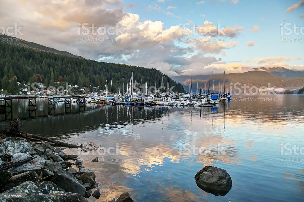 Marina In Deep Cove Autumn At Sunset Time Royalty Free Stock Photo