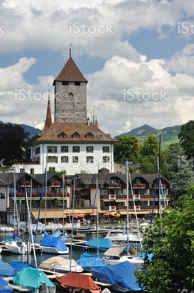 Marina in Spiez royalty-free stock photo