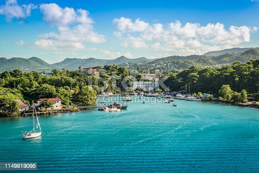 Panorama landscape with sea and mountains at the harbor of Castries in Saint Lucia, Eastern Caribbean