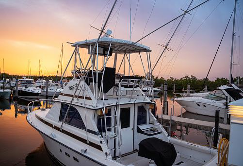 Marina Miami Florida at sunset