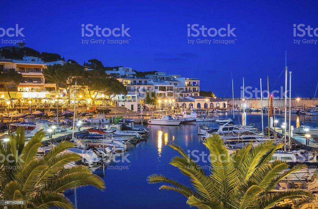 Marina of Cala Ratjada by Night stock photo