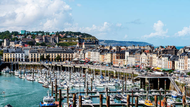 Marina of Dieppe Dieppe, France - August 07,2019: Marina of Dieppe, a city in Normandy founded in 1030, famous for so called The Dieppe Raid in WWII, an unsuccessful battle of the Allied Forces against Germans. dieppe france stock pictures, royalty-free photos & images