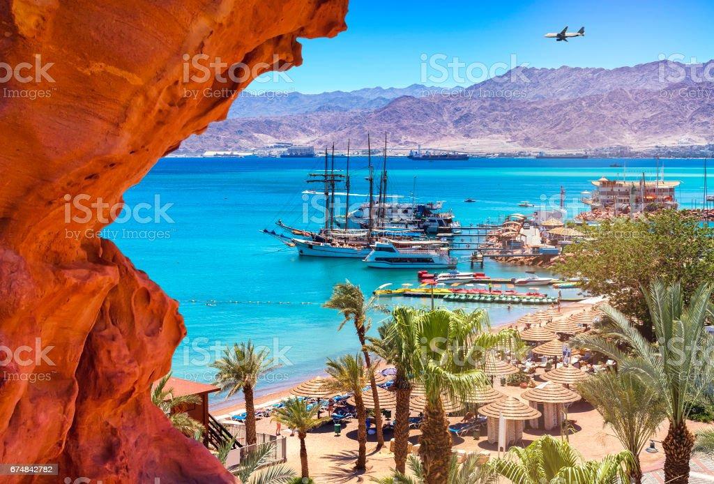 Marina of Eilat at sunny summer day stock photo