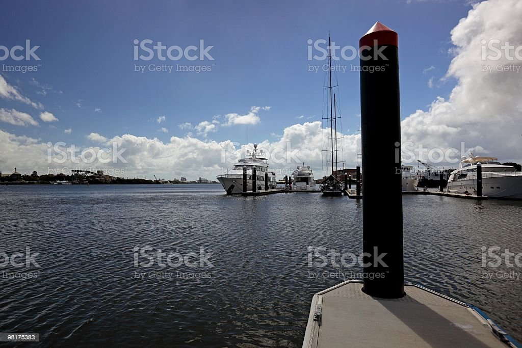 Marina on river royalty-free stock photo