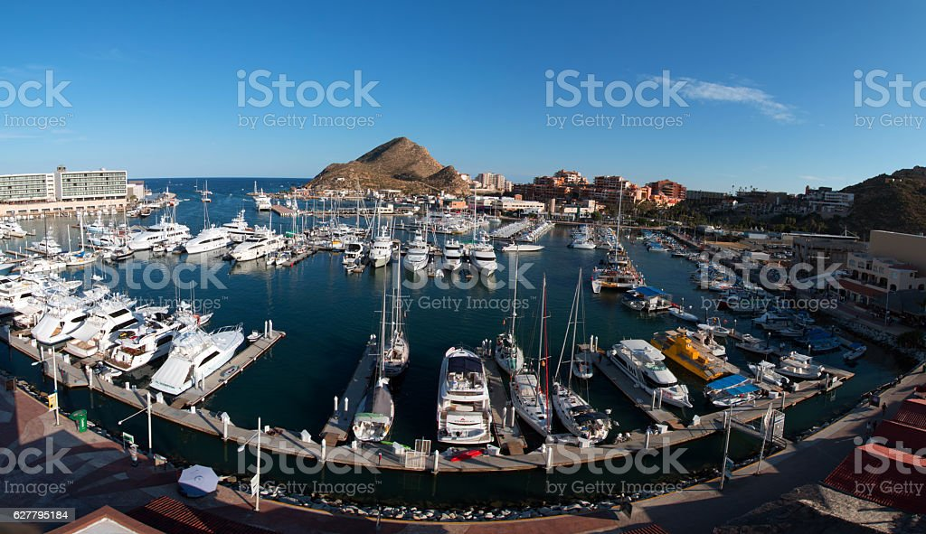 Marina panorma at Cabo San Lucas Baja Mexico BCS stock photo