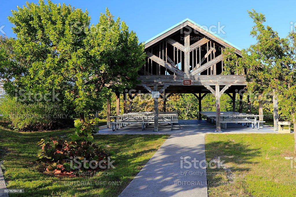 Marina Pavilion with Picnic Tables stock photo