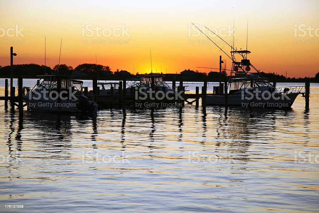 Marina Silhouette at Sunset stock photo