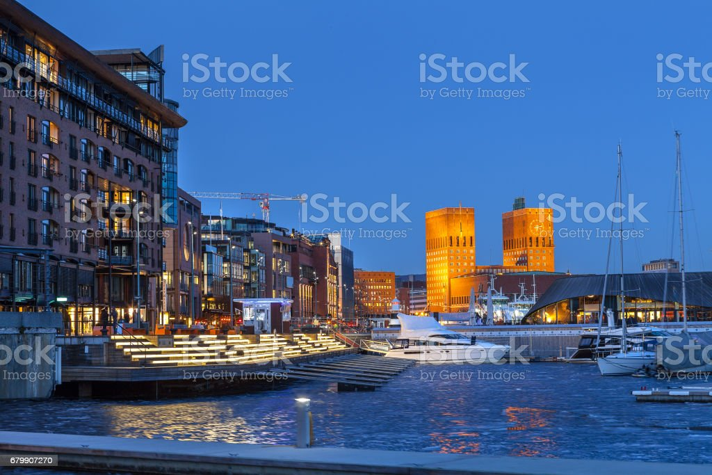 OSLO, NORWAY - 27 FEB 2016: Marina with a view of City hall stock photo