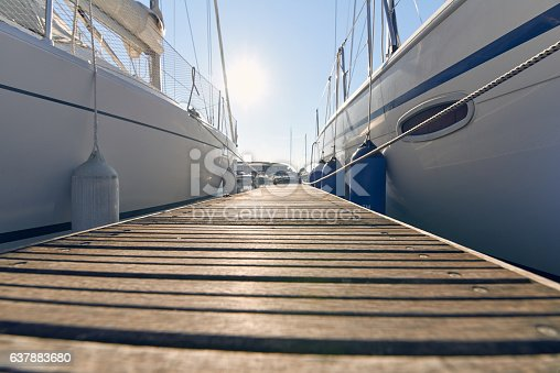 Perspective of small floating pier on still water
