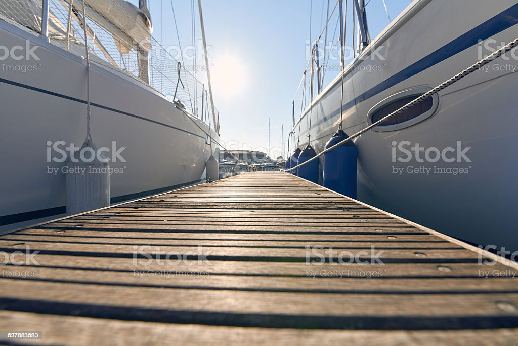 Marina with anchored boats stock photo