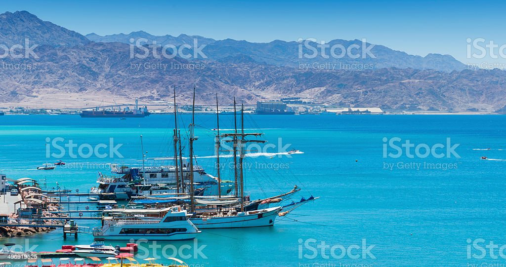 Marina with anchored pleasure yachts in Eilat stock photo