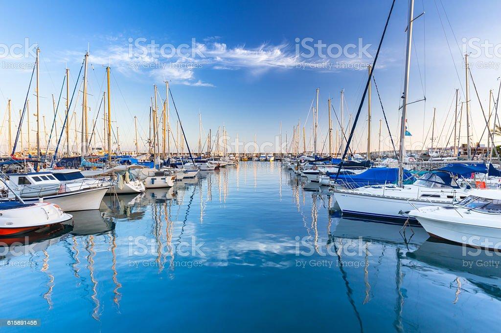 Marina with yachts in Puerto de Mogan stock photo