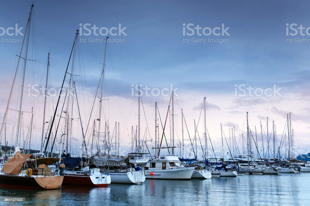Marina with yachts in the evening royalty-free stock photo