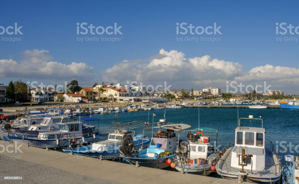 Marina, Zygi, view of harbour and village. stock photo