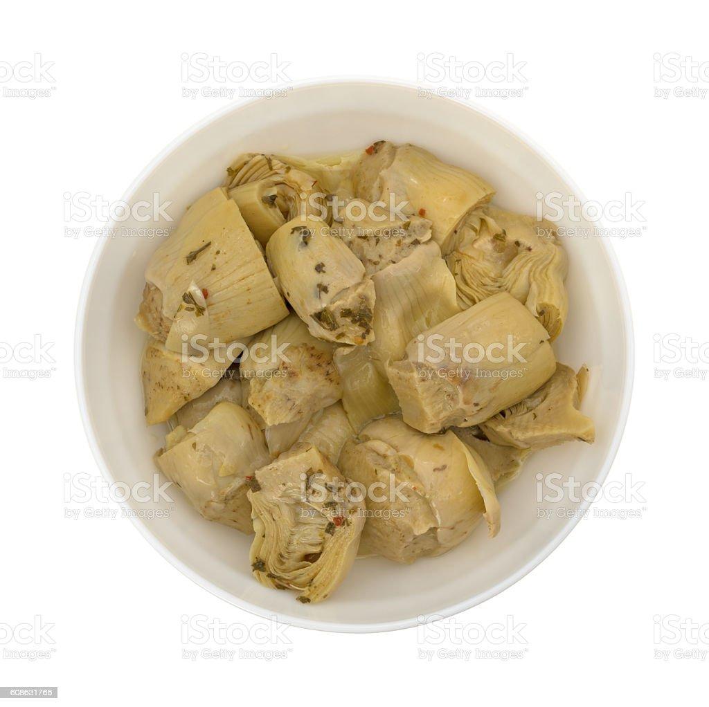 Marinated artichoke hearts in bowl top view - foto stock