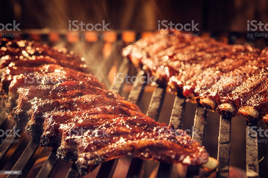 Marinated BBQ Pork Ribs on Barbecue Grill stock photo