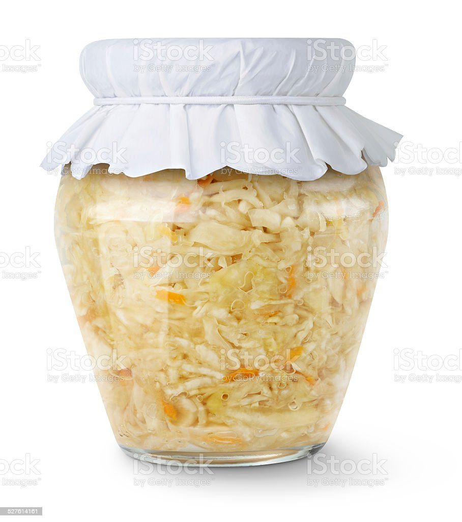 Marinated cabbage (sauerkraut) in glass jar isolated on white stock photo