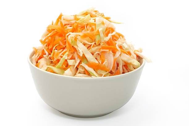 marinated cabbage. object over white. - coleslaw stock pictures, royalty-free photos & images