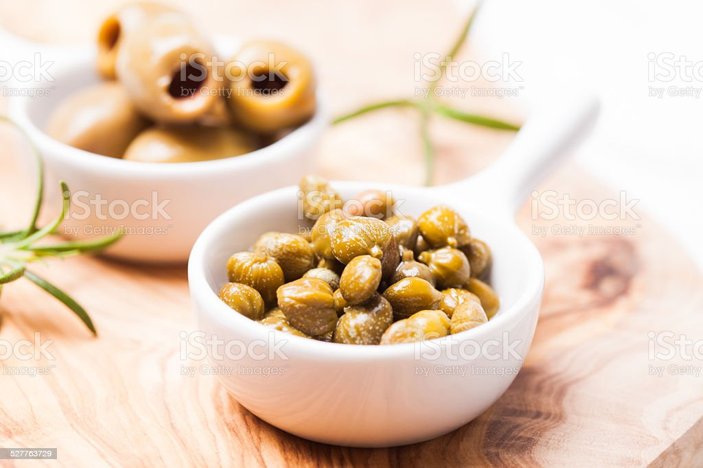 Marinated capers stock photo