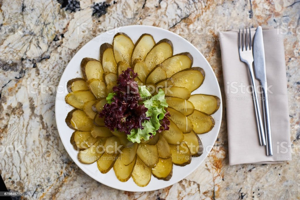 marinated cucumber slices on plate royalty-free stock photo