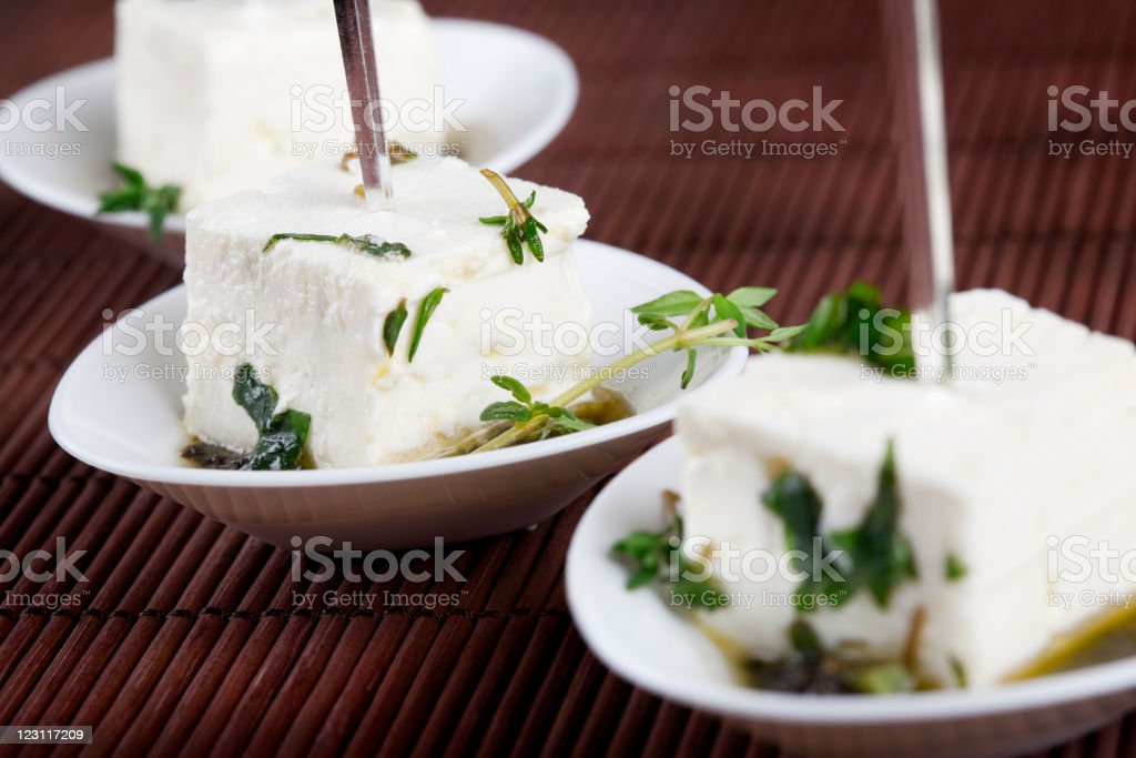 Marinated feta cheese with olive paste royalty-free stock photo