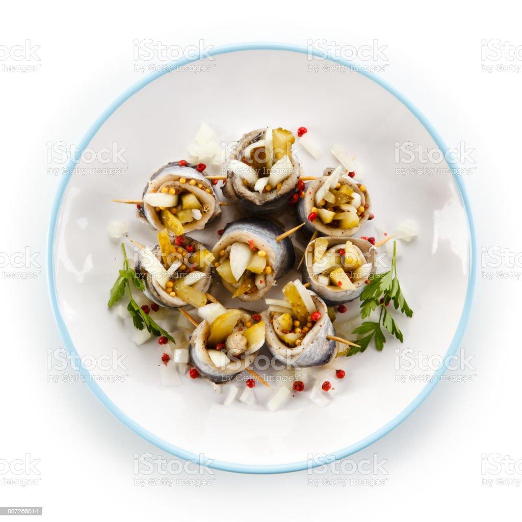 Marinated herring fillets stock photo