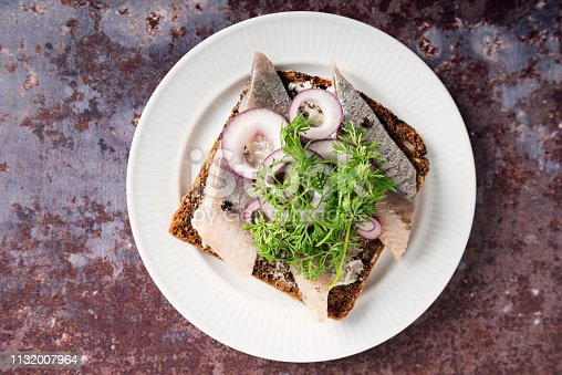 """Traditional danish """"smørrebrød"""" or open sandwich made with a slice of buttered rye bread, marinated herring, onion and dill. Colour, horizontal with some copy space."""