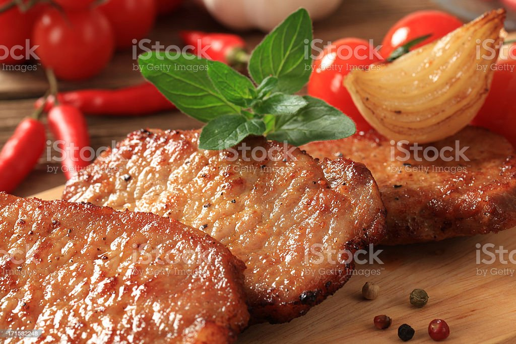 Marinated pork chops royalty-free stock photo