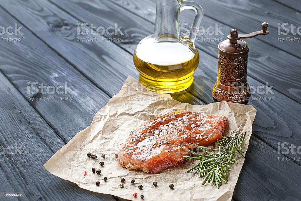 marinated pork steak stock photo