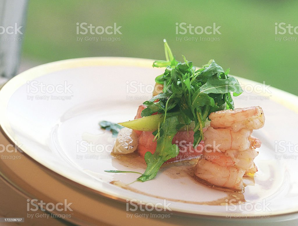 Marinated prawns and fresh fruits salad royalty-free stock photo