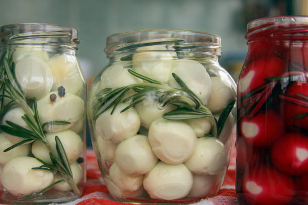 Marinated quail eggs in jars stock photo