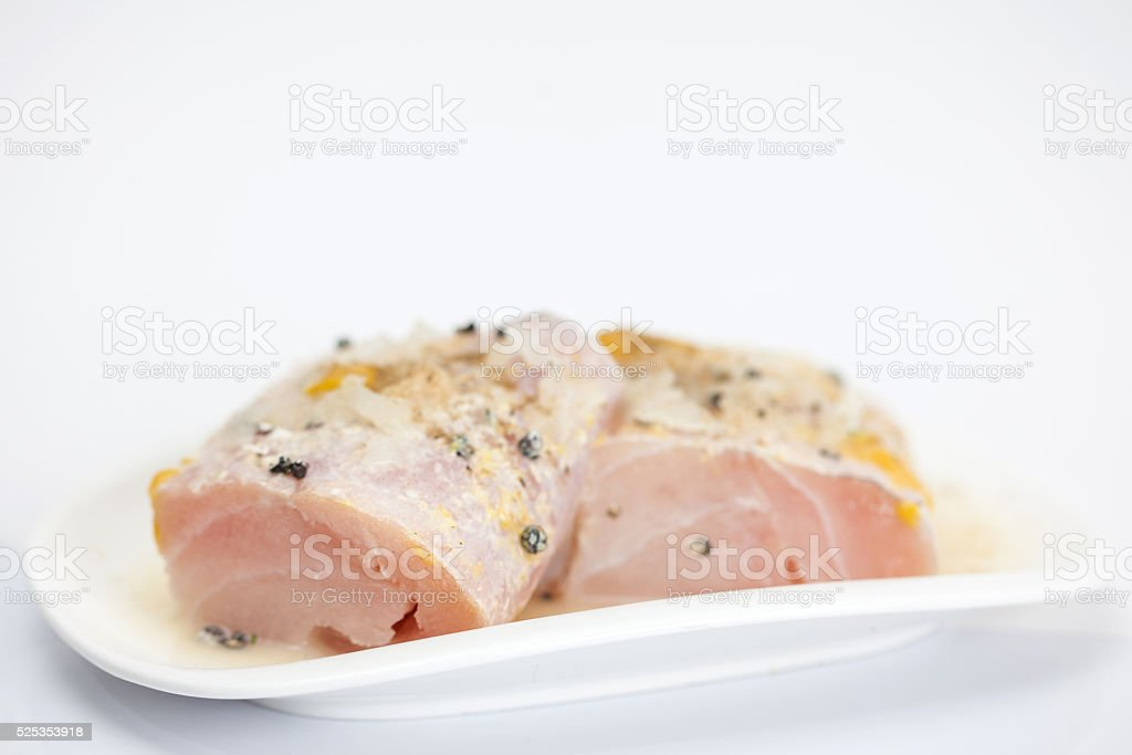 Marinated raw sea bass fillet stock photo