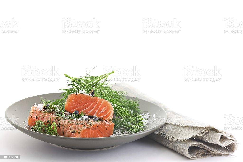 Marinated Salmon stock photo