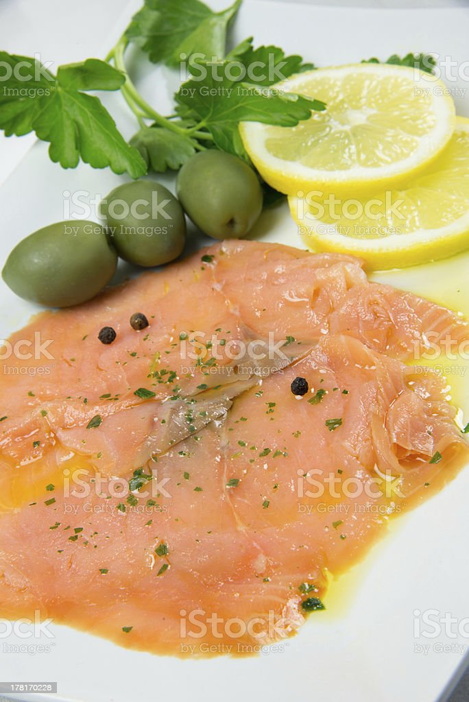marinated salmon royalty-free stock photo